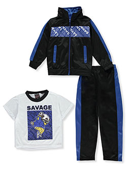 Savage 3-Piece Tracksuit Set Outfit by Quad Seven in Black multi, Boys Fashion