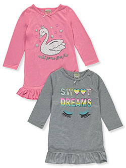 Sparkle Swan 2-Pack Nightgowns by Sweet N Sassy in Pink/gray
