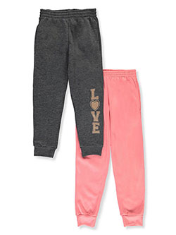 Girls' 2-Pack Joggers by Real Love in charcoal gray/coral and mauve/black, Girls Fashion