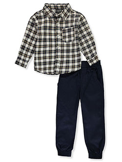 Seven Boys' Plaid 2-Piece Joggers Set Outfit by Quad in charcoal gray/khaki and navy/multi, Boys Fashion
