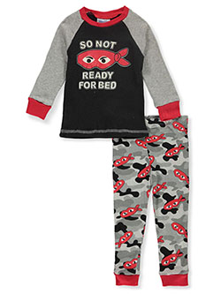 Baby Boys' Eye Mask 2-Piece Pajamas by Mon Petit in black multi, ivory/multi, olive multi and white/multi
