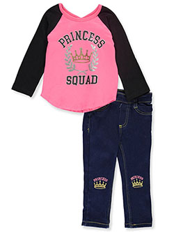 Princess Squad 2-Piece Jeans Set Outfit by My Destiny in Black multi
