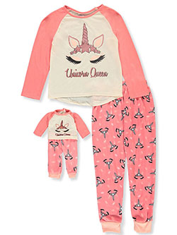 Unicorn Queen 2-Piece Pajamas with Doll Pajamas by BFF & Me in Multi