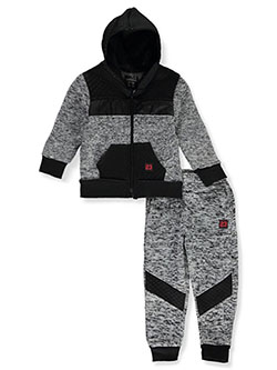 Baby Boys' 2-Piece Joggers Set Outfit by Quad Seven in black/heather gray and black/red - Active Sets