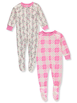 Girls' 2-Pack Footed Pajama Suits by Mon Petit in Multi