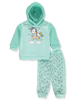 Unicorn 2-Piece Joggers Set Outfit by Real Love in mint multi and pink/multi, Infants