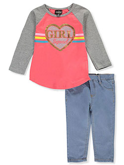 Girl Squad 2-Piece Jeans Set Outfit by My Destiny in black multi and coral/multi