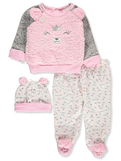 Plush Kitty 3-Piece Layette Set Outfit by Duck Duck Goose in Multi