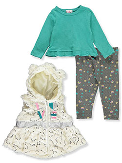 Plush Sequin 3-Piece Leggings Set Outfit by Real Love in mint multi and pink/multi