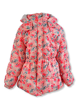 Girls' Floral Insulated Parka by Real Love in Pink, Girls Fashion