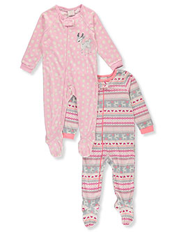 Reindeer 2-Pack Footed Pajama Suits by Duck Duck Goose in Black