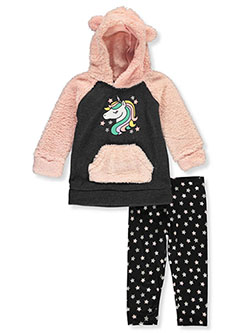 Unicorn 2-Piece Leggings Set Outfit by Real Love in light pink multi and pink/multi, Infants