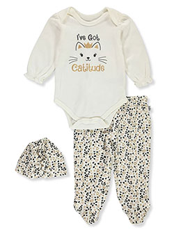 Catitude 3-Piece Layette Set by Duck Duck Goose in Multi