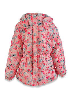 Floral Puffer Insulated Parka by Real Love in Pink