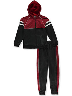 Concrete Panel 2-Piece Sweatsuit Outfit by Quad Seven in red/black and white/black, Boys Fashion