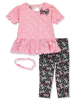 Unicorn 3-Piece Leggings Set Outfit by Real Love in Pink/multi, Infants
