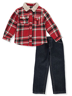 Boys' Woodsman 2-Piece Jeans Set Outfit by Quad Seven in red/multi and royal/multi