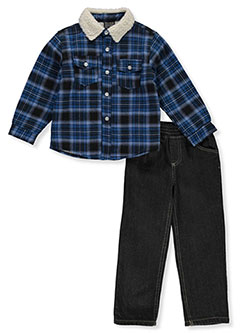 Boys' Woodsman 2-Piece Jeans Set Outfit by Quad Seven in Royal/multi