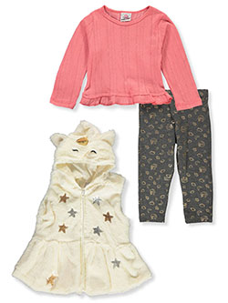 Star Unicorn 3-Piece Leggings Set Outfit by Real Love in ivory/multi and pink/multi, Infants