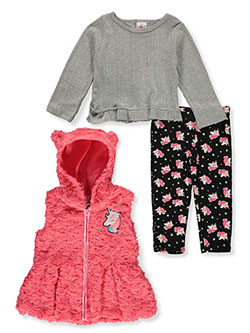 Swirl Unicorn 3-Piece Leggings Set Outfit by Real Love in coral/multi and pink/multi, Infants