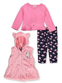 Swirl Unicorn 3-Piece Leggings Set Outfit by Real Love in Pink/multi