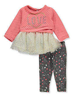 Quilt Love 2-Piece Leggings Set Outfit by Real Love in coral/multi and ivory/multi
