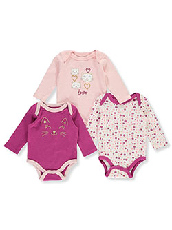 Cat 3-Pack L/S Bodysuits by Duck Duck Goose in Multi