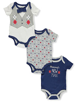 Baby Boys' Argyle 3-Pack Bodysuits by Dapper Dude in Multi