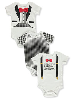 Houndstooth 3-Pack Bodysuits by Dapper Dude in Multi, Infants