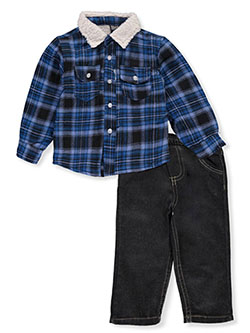 Woodsman 2-Piece Jeans Set Outfit by Quad Seven in blue/multi and red/multi - $21.00