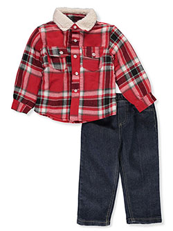 Woodsman 2-Piece Jeans Set Outfit by Quad Seven in Red/multi