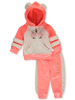 Cute Unicorn 2-Piece Sweatsuit Outfit by 2 Be Real in coral/multi and gray multi - $21.00