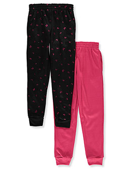 Girls' 2-Pack Joggers by Real Love in fuchsia/black and pink/charcoal