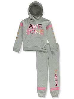 Girls' Awesome 2-Piece Sweatsuit Outfit by Real Love in gray multi and pink/multi