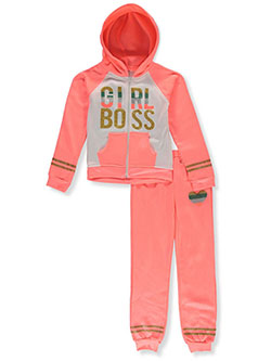 Girls' Boss 2-Piece Sweatsuit Outfit by 2 Be Real in coral/multi and pink/multi