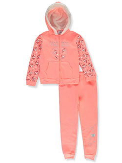 Girls' Magical 2-Piece Sweatsuit Outfit by Real Love in coral/multi and pink/multi