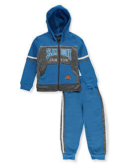 Slam Dunk 2-Piece Sweatsuit Outfit by Quad Seven in aqua/multi and black multi