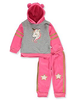 Unicorn 2-Piece Sweatsuit Outfit by Real Love in fuchsia/multi and pink/multi