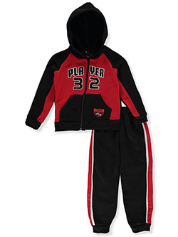 Boys' Player 2-Piece Sweatsuit Outfit by Quad Seven in black multi and gray multi