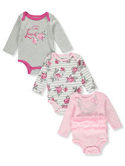 Tutu Loved 3-Pack L/S Bodysuits by Princess Rose in Multi