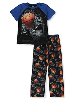 Boys' Basketball Smash 2-Piece Pajamas by Quad Seven in blue/multi and gray multi - $11.99