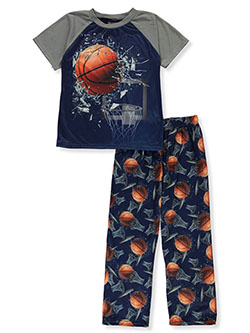 Boys' Basketball Smash 2-Piece Pajamas by Quad Seven in blue/multi and gray multi