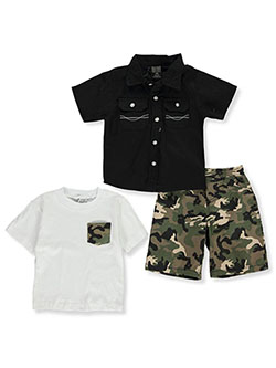 Camo 3-Piece Shorts Set Outfit by Quad Seven in black multi and white/multi