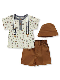 Cat 3-Piece Shorts Set Outfit by Dapper Dude in Cream/multi