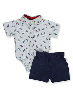 Boat Print 2-Piece Layette Set by DDG Sport in Blue/navy, Infants