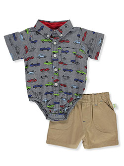 Baby Boys' Car Print 2-Piece Layette Set by DDG Sport in Blue/khaki