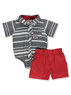 Perfect Gentleman 2-Piece Layette Set by DDG Sport in blue/red and navy/mint, Infants