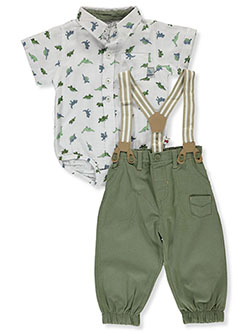 Dinos & Suspenders 2-Piece Layette Set by Dapper Dude in White/olive, Infants
