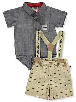 Mustache Shorts 2-Piece Layette Set by Dapper Dude in gray multi and pink/multi