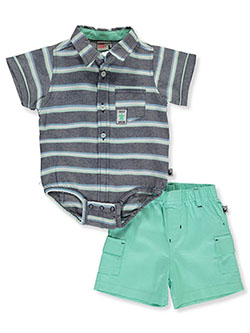 s Turtle Patch 2-Piece Layette Set by DDG Sport in blue/mint and white/khaki